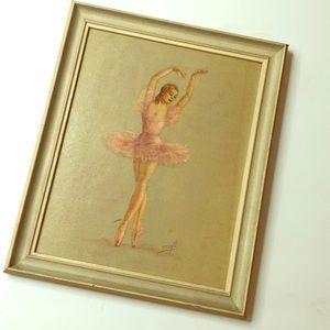 Vintage Ballet Art Porcelain Princess Monte Framed